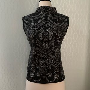 St. John Charcoal & Silver Embroidered Top